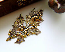 CLOSEOUT SALE ANTIQUE BRASS Holly Leaves & Berries Spray Stamping (FB-6104)