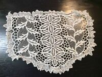 Vintage Doilie Hand Made Doily Crochet Table Lace Dresser Scarf Staging N535