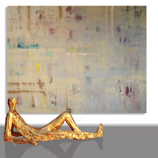 PAINTING LARGE # ABSTRACT CANVAS OCHER ABSTRACT XXL  ART DESIGN OIL * 78 x 60