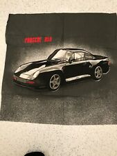 Porsche 959 grey black 100% cotton remnant craft material fabric piece 60x60cm