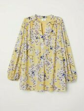 Anna Glover H&M Woman Yellow Stretchy Floral Blouse Size S Oversized