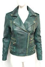 Loreal Womens Ladies Teal West Designer Celebrity Fashion Model Leather Jacket