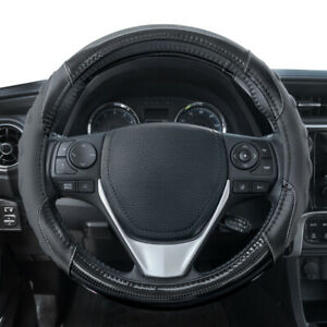 Carbon Fiber Steering Wheel Cover Soft Leather Ergonomic Grip by Motor Trend