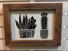 Farmhouse Country Wedding Decor Cactus Succulent Rustic Wood Wall Art Sign