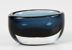 vintage Orrefors Nils Landberg clear cased blue glass bowl, signed
