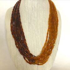 Milano Lucite Necklace Ze Co Topaz Brown Black Multi Strand Gradient Vintage