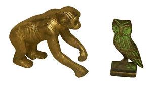Owl & Monkey Kids Toy Antique Style Brass Handmade Paperweight Figurine Statue