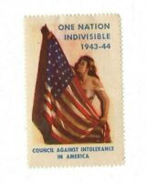 1943-44 US One Nation Indivisible Cinderella Poster Stamp Council Against Intol