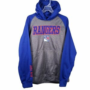 NWT New York Rangers Pullover Hoodie Mens Size Large L Blue Gray Official Hockey