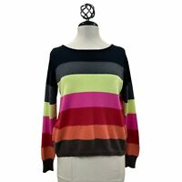 Lisa Todd Stripe Pink Black Red Retro Soft Comfy Sweater Cotton Cashmere Sz XS