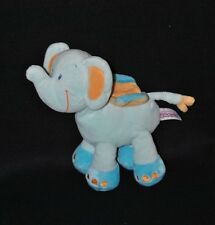 Doudou peluche éléphant POMMETTE Intermarché bleu 2 tons jaune 21 cm TTBE