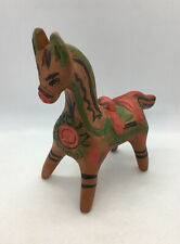 """Vintage Mexican Painted Clay Pottery Horse Figurine Folk Art Hand Made 7x7x3.5"""""""