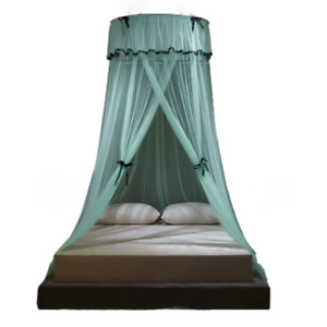 Ruffled Bed Canopy Hung Mosquito Proof Net Princess Round Tent Curtain Foldable