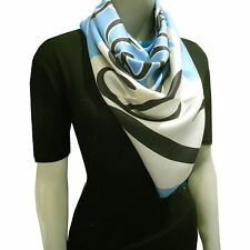 Burberry Prorsum Women's Scarf Square Silk Print  Blue Seascapes Made in Italy