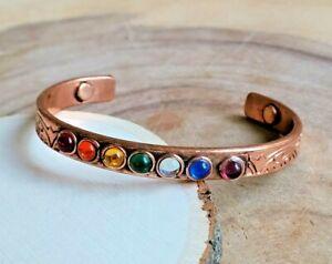Copper 7 Chakra Crystal Bracelet Copper Arthritis Magnetic Reiki Healing Cuff