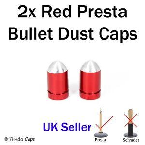 2x Red Presta Bullet Alloy Valve Stem Dust Caps Racing cycle Cover Kids Bikes
