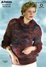 ~ Patons Knitting Pattern For Lady's Round & Cowl Neck Lacy Mohair Sweaters ~