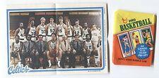 1980-81 Topps Basketball Pin Ups Celtics Team #2 & Wrapper Larry Bird  Rookie
