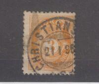 Norway 1893 3 ore Orange perf 13 1/2 x 12 1/2 Fine Used JK1930