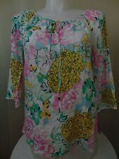 Charter Club Plus Size Linen Tie Neck Floral Peasant Top 3/4 Sleeves 0X #2002