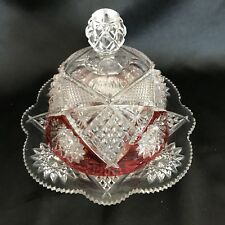 Antique-EAPG-1898 Duncan #40 Covered Butter/Cheese Dish -Starburst-Red Flashing