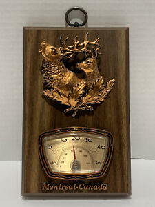 Vintage A&F Montreal Canada Copper Thermometer Elk Deer 3D Plaque Picture