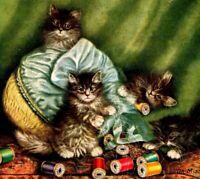 "1917 Kittens Postcard ""On Mischief Bent"" Playing Silk Spools Cats Austrian Vtg"