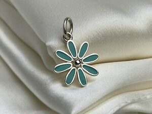 $260 Tiffany & Co. Sterling Silver 925 Blue Enamel Daisy Flower Charm