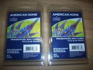 WILD BLUE INDIGO Wax Melts YANKEE CANDLE American Home 2 Packs Lot-12 Cubes