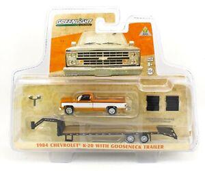 1:64 GreenLight *ORANGE & WHITE* 1984 Chevrolet K-20 w/GOOSENECK Flatbed *NIP*