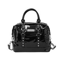 KILLSTAR Jessie Lack-Handtasche Gothic Schwarz Nieten Pentagramm Pompom Handbag