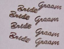 "50 Silver ""Bride Groom"" Die Cut Metallic Foil/Scrapbook Confetti Paper Punchies"