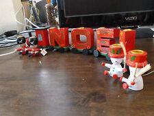 Wood 'Noel' Christmas Train - Red & Green + Toy Soldiers/Snowmen Candleholders