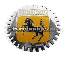 1 - NEW German Chrome Front Grill Badge Coat of Arms STUTTGART CAPITAL MEDALLION