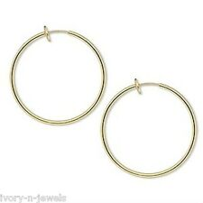 NON PIERCED 35mm HOOPS Gold Plated Brass Perfect for Charms 4 Ear Nose or Lip
