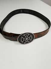 Levis Brown Black Distressed Leather Belt Size 38-40