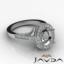 Diamond Engagement Halo Pave F-G Color Ring Oval Semi Mount 14k White Gold 1.3Ct