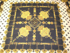"Gozde Turkish Scarf Black Cream Gold Chains Medallions 35"" Square"