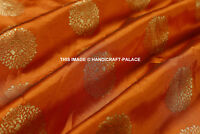 1 YD Crafted Sewing Fabric Silk Banarasi Brocade Fabric Orange Gold Upholstery