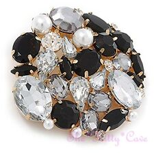 Deco Style Gold Plt Brooch Pin Black Clear Crystal Pearl Cluster Corsage Vintage