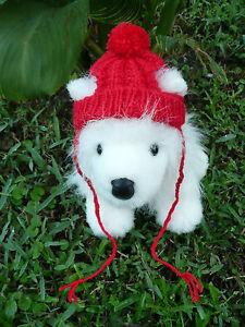 XXS handmade knit Red dog hat