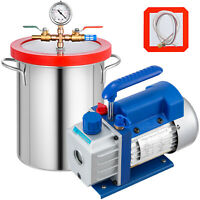 5 Gallon Vacuum Chamber 3CFM Vacuum Pump Single Stage Refrigerant Silicone
