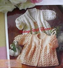 Knitting Pattern Baby's Exquisite Matinee Coats 2 Styles, 3 Sizes FREE UK P&P
