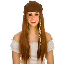 Brown Pirate Braided Wig & Bandana Fancy Dress Accessory