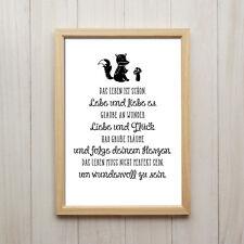 Das Leben Ist Schön Kunstdruck Poster A4 Familie Liebe Spruch Geschenk Deko Bild