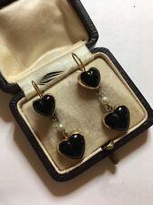 Vintage Victorian oro antico cuore gemset onice e perla Orecchini Pendenti