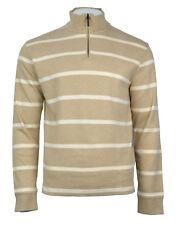 Brooks Brothers Mens Beige Striped Supima Cotton 1 2 Zip Sweater Sz XL 3647- 4a07fb192
