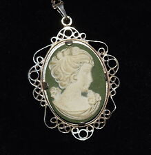AL-005 - Sterling Silver White on Green Cameo Pendant with Chain Beautiful Vintg