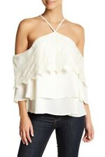 DANCE & MARVEL cream off shoulder lace tiered halter top boho crochet blouse 3B
