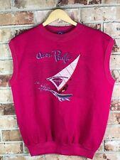 80's OP OCEAN PACIFIC SURF Sweat shirt Vest USA Sz Large surfer Hot pink